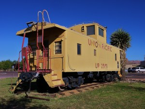 Union Pacific Caboose at the Visitor Center. Rumor has it a Geo-Cache is around there somewhere!